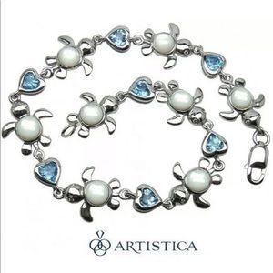 Jewelry - Blue Topaz and Diamond Bracelet Earring Set